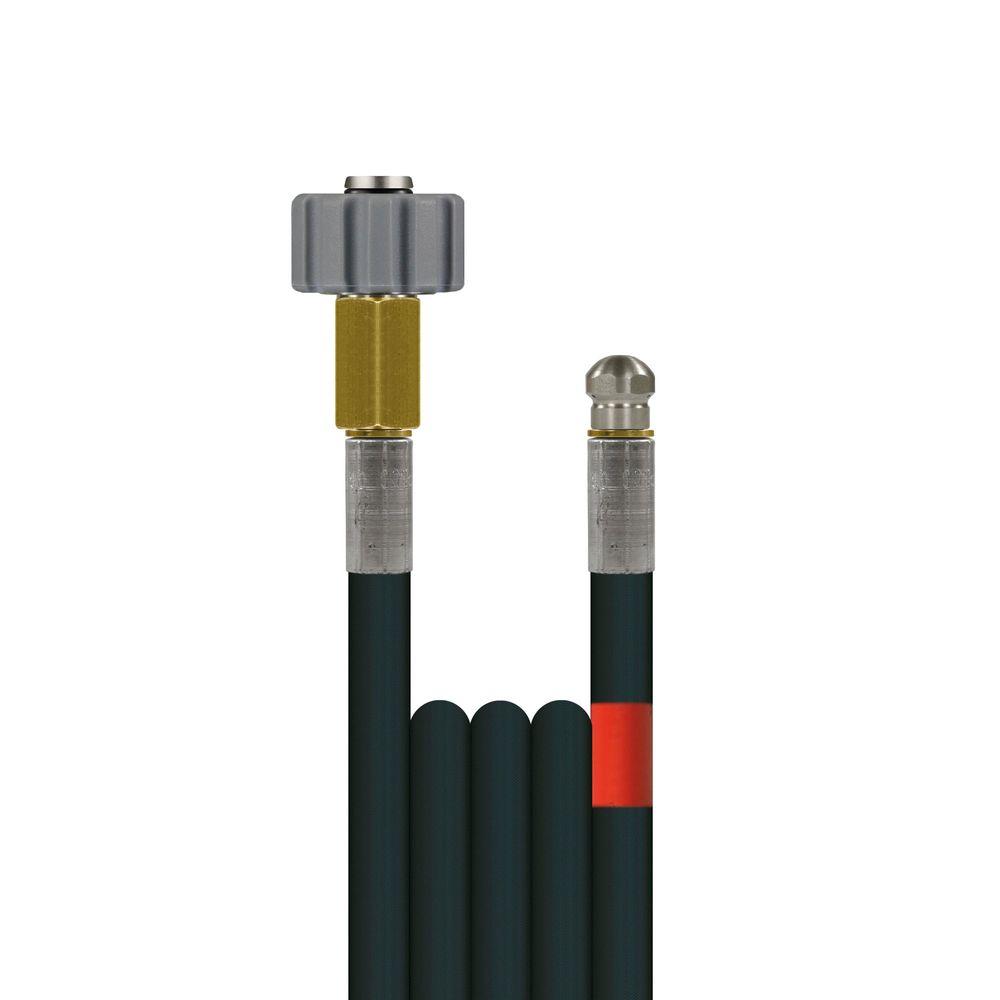 10m Rohrreinigungsleitung Polya, DN5, schwarz, M22 Überwurf auf Düse 3x0,8, ohne Frontbohrung, max. 20°C, max. 200bar