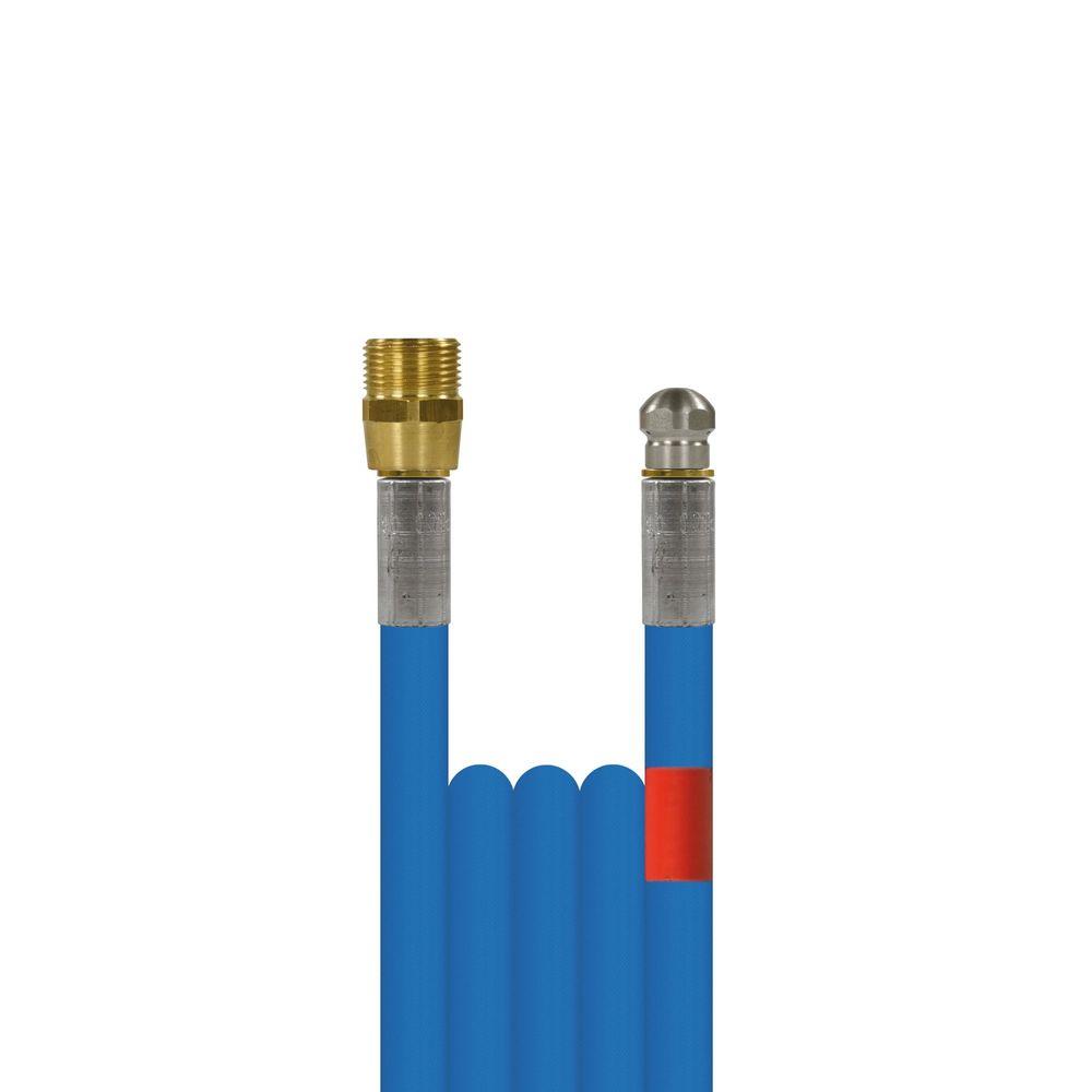 10m Rohrreinigungsleitung blupur, DN5, blau, M22 Aussengewinde auf Düse 3x0,8, ohne Frontbohrung, max. 20°C, max. 200bar