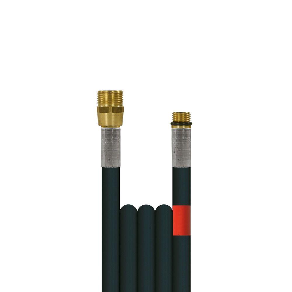 10m Rohrreinigungsleitung Flexy, DN6, schwarz, M22 Aussengewinde auf 1/4 Zoll Aussengewinde, max. 100°C, max. 300bar