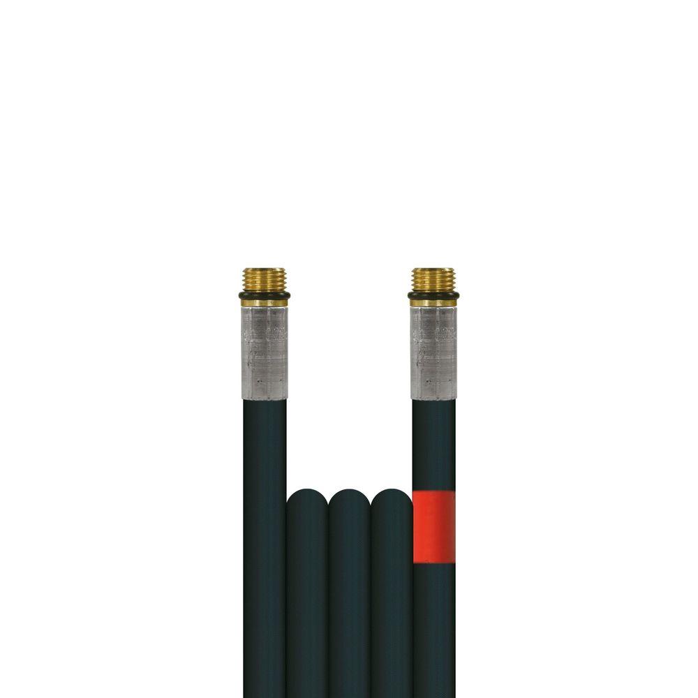 10m Rohrreinigungsleitung Flexy, DN6, schwarz, 1/4 Zoll Aussengewinde auf 1/4 Zoll Aussengewinde, max. 100°C, max. 300bar