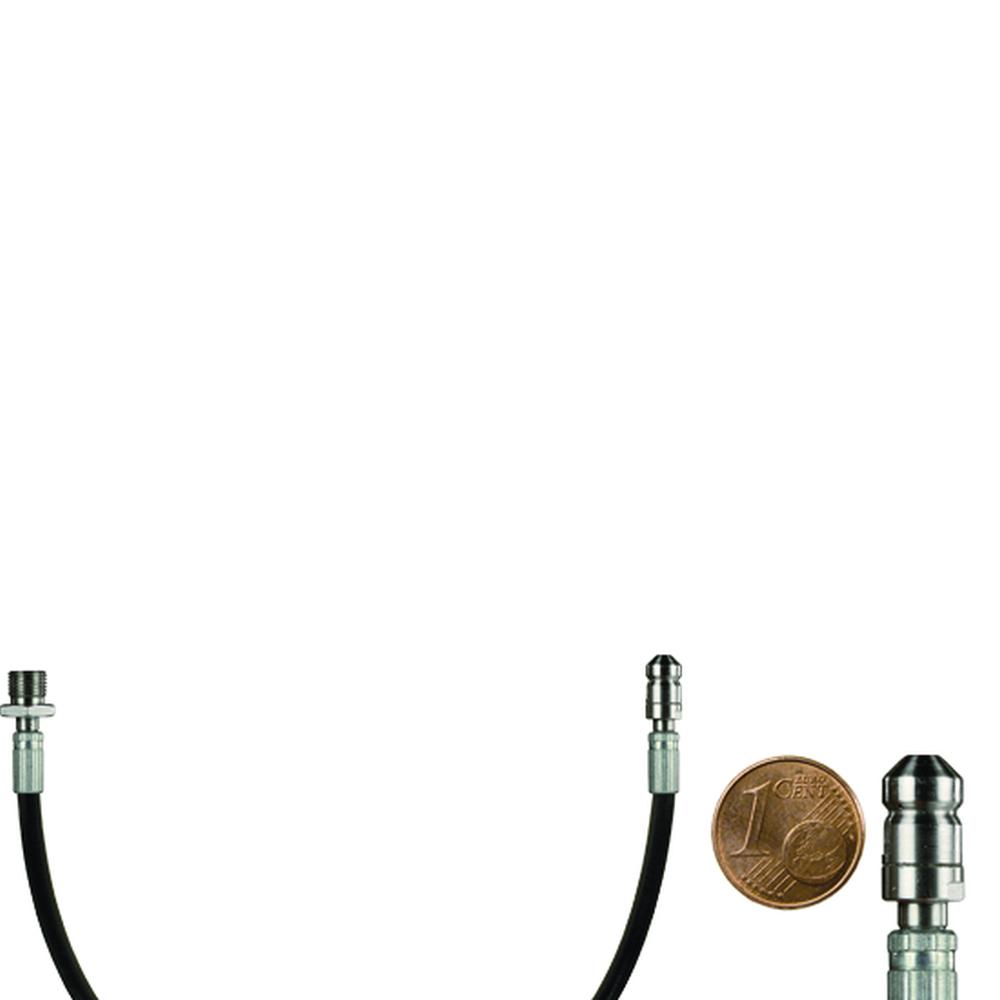 10m Mini-Rohrreinigungsleitung, DN2, schwarz, 1/8 Zoll Aussengewinde auf Düse 4x0,8, mit Frontbohrung, max. 60°C, max. 500bar