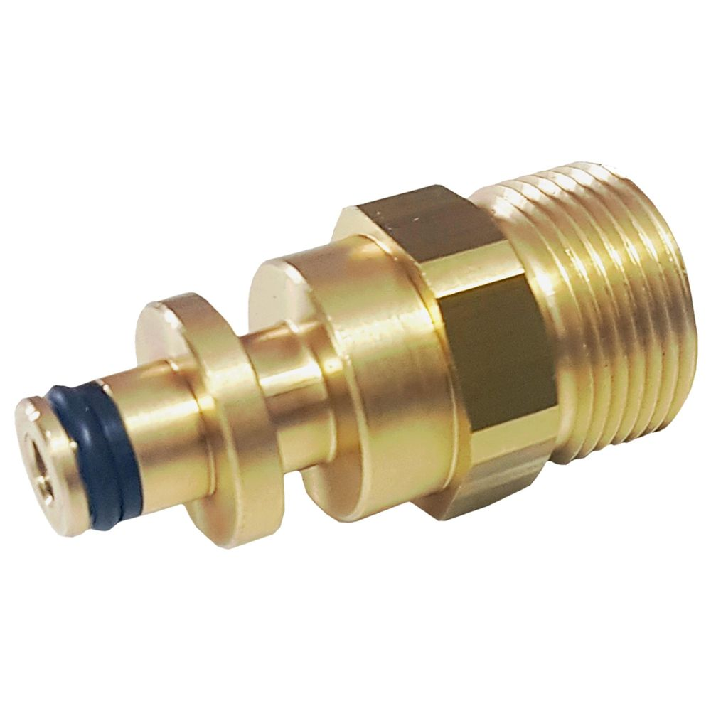 Stecknippel-Adapter, E=M22 AG auf Stecknippel 10 mm aussen, max. 250bar, Messing – Bild 1