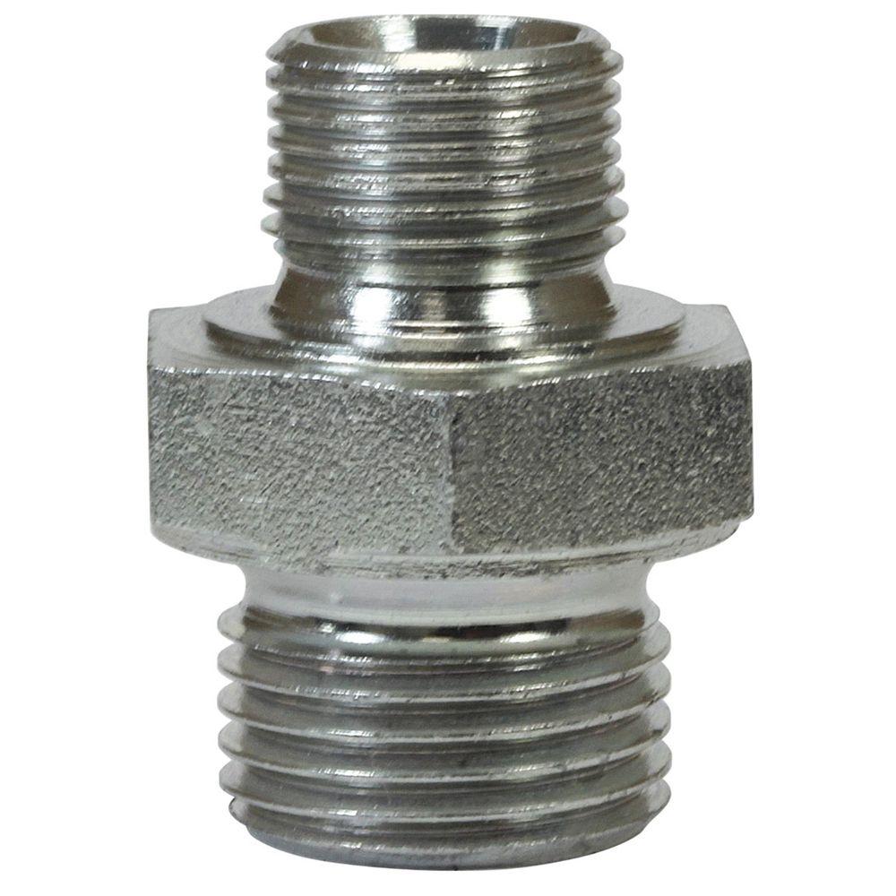 "Doppelnippel reduziert 1/4"" AG - 1/2"" AG, max. 500bar, 37mm lang, Stahl verz."