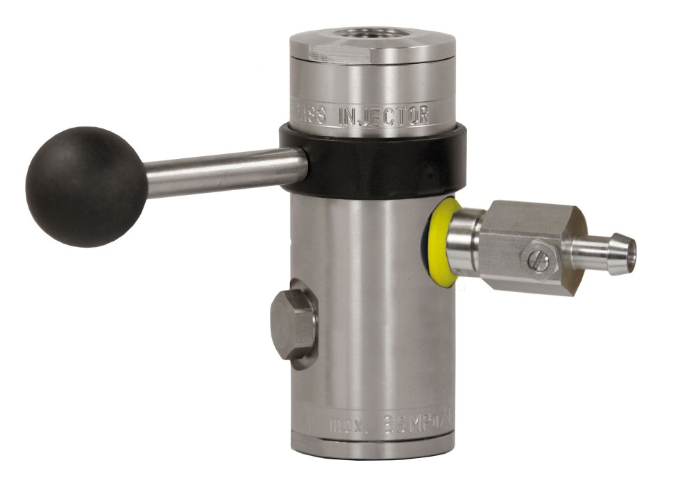 "easyfoam365+ Bypass Injektor ST-167 mit Dosierventil ""extreme"", ohne Druckluftmodul, E/A= 1/2"" IG, D=1.7 mm, max. 350 bar, max. 100°C, Edelstahl"