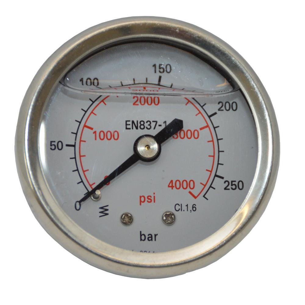 Wika Manometer 1/4 Zoll Aussengewinde hinten, Edelstahlgehäuse, glyceringedämpft – Bild 1